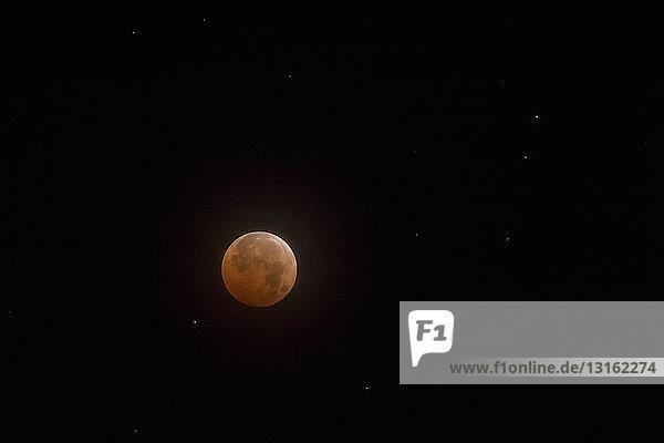 Totale Mondfinsternis bei Nacht  Naramata  Britisch-Kolumbien  Kanada