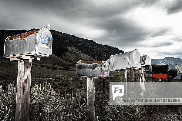 Mailboxes in a row  Wyoming  USA