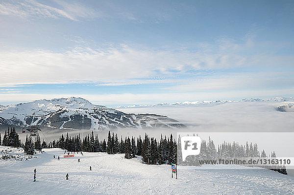 Hochwinkelansicht von Skifahrern  Skigebiet Whistler Blackcomb  Britisch-Kolumbien  Kanada