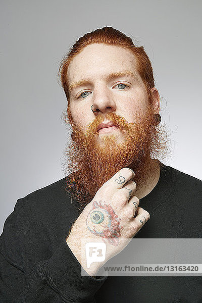 Studio portrait of young man with red hair stroking beard