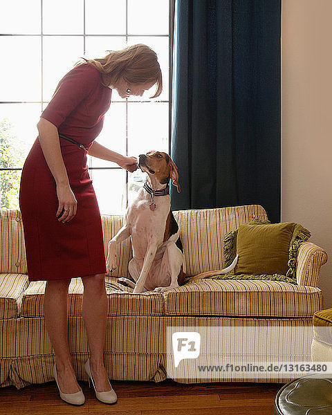 Young woman petting dog on sofa