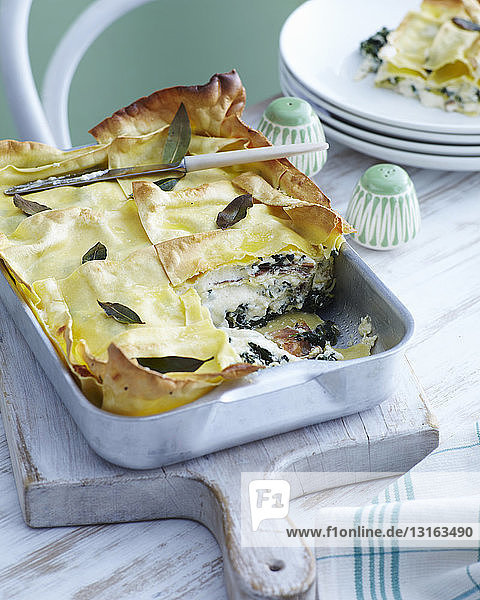 Baking tray with rocket and ham lasagne with herb garnish