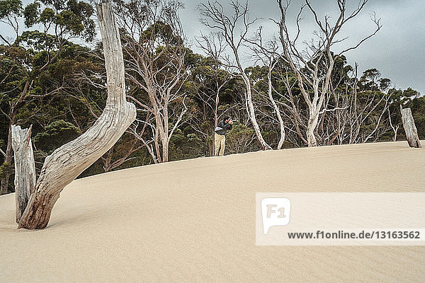 Photographer taking photographs of sand dunes,  Tasmania