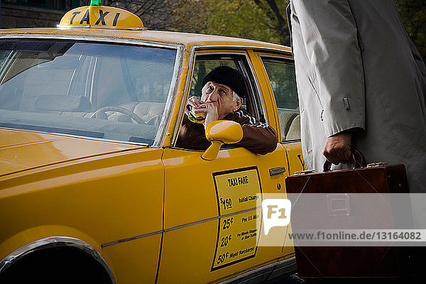 Taxi Driver interrupted during a break