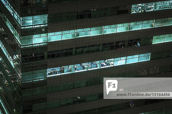 Close up of office block at night  Tokyo  Japan