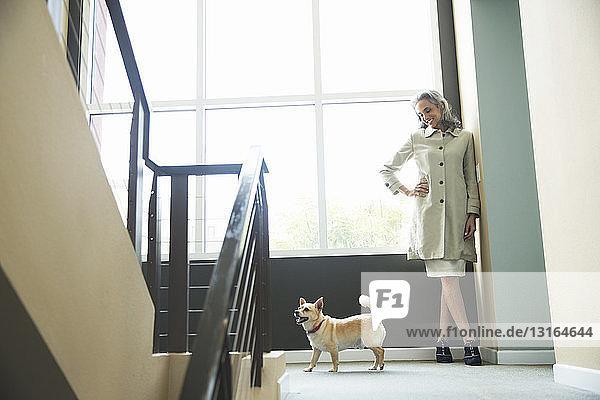Reife Frau und Haushund auf der Treppe