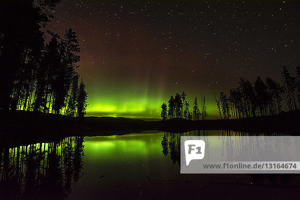 Aurora borealis over Ellis reservoir  Okanagan Valley  Penticton  British Columbia  Canada