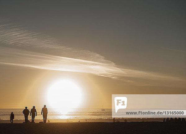Silhouettierte Menschen  die bei Sonnenuntergang am Strand spazieren gehen  Venice Beach  Kalifornien  USA
