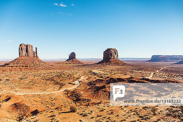 View of valley and rock formations  Monument Valley  Utah  USA