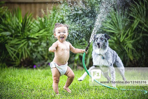 Kleinkind Mädchen hält Wasserschlauch  spielt mit Hund
