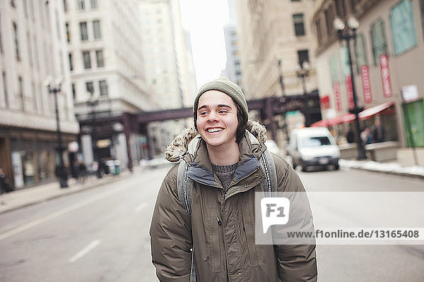 Young man in downtown Chicago  Illinois