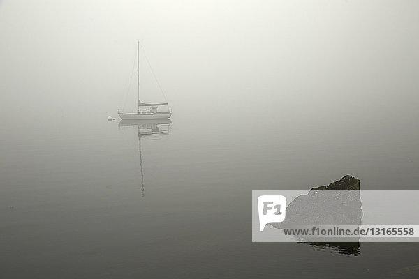 Segelboot auf nebligem See  Orcas Island  Bundesstaat Washington  USA