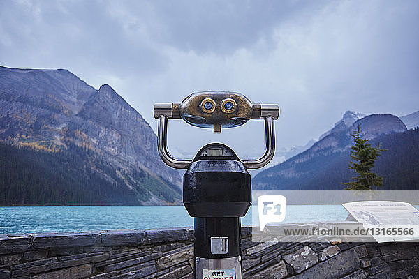 Viewing binoculars beside Lake Louise  Alberta  Canada