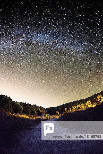 View of milky way at night from Palomar Mountain  Palomar  California  USA