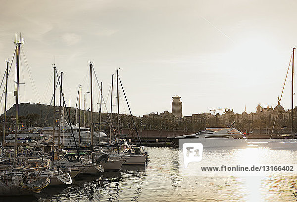 Sunset at harbour  Montjuic in background  Barcelona  Spain