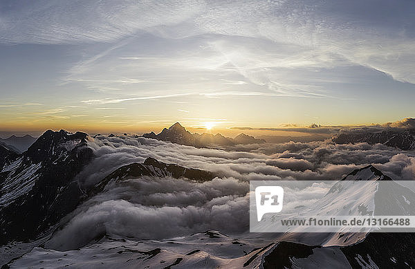 Above the clouds at sunrise  Bavarian Alps  Oberstdorf  Bavaria  Germany