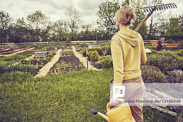 Ältere Frau  Gartenarbeit  Harke und Gießkanne tragend  Rückansicht