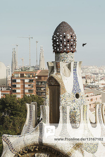 View of city and La Sagrada Familia from Park Guell  Barcelona  Spain