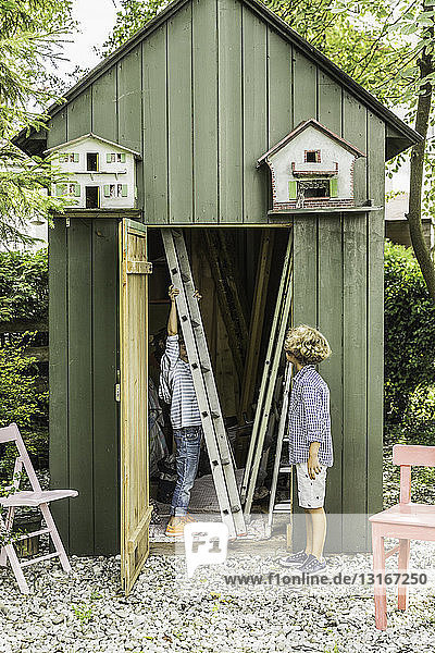 Zwei Brüder entfernen Leiter aus Gartenschuppen