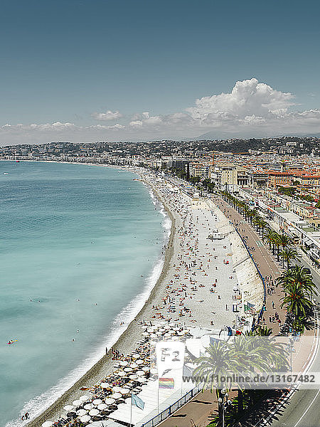 Elevated view of Promenade des Anglais  Nice  France