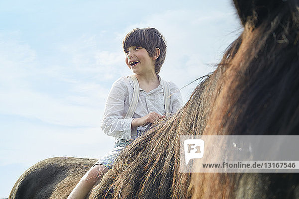 Close up cropped shot of boy on horse