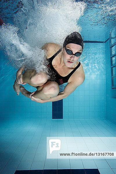 Schwimmer  der in den Pool springt