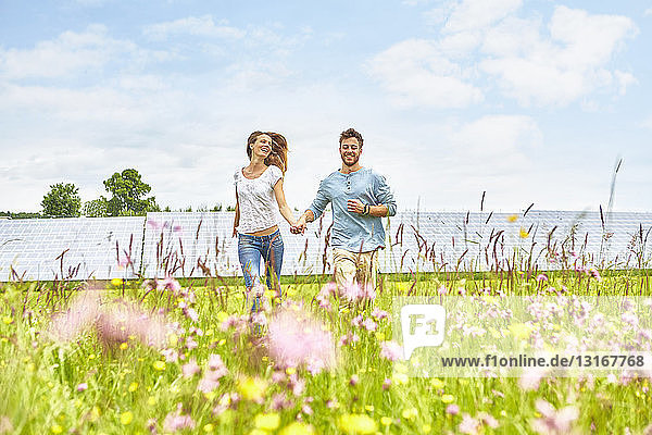 Junges Paar hält sich an den Händen  läuft durch das Feld  neben dem Solarpark
