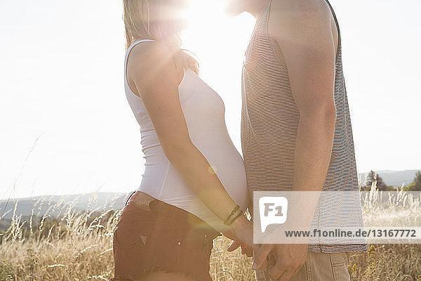 Junger Mann und schwangere Freundin von Angesicht zu Angesicht und Händchenhalten im Feld