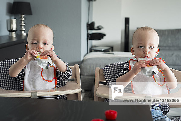 Baby twin brothers drinking juice in high chairs