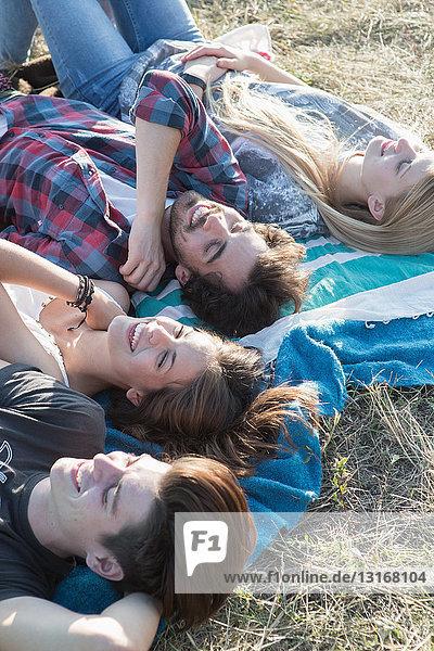 Vier Freunde liegen auf einer Decke