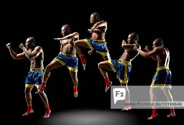 Multiple exposure of young male boxer