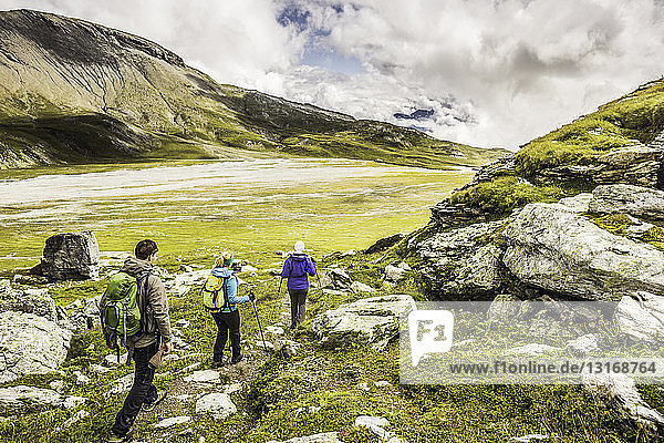 Rückansicht von drei Wanderern entlang des Weges  Fil de Cassons  Segnesboden  Graubünden  Schweiz