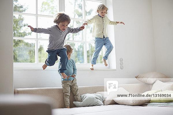 Drei Jungen springen vom Fensterbrett auf das Sofa  mittlere Luft