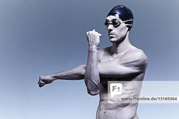 Swimmer stretching