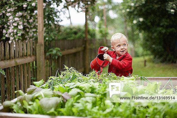 Kleinkind Junge gießt Pflanzen im Garten