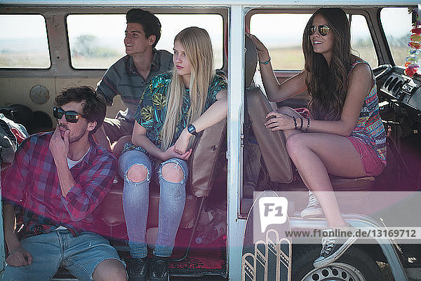 Friends in campervan