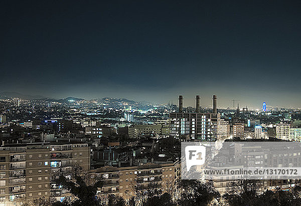 View of city at night  Barcelona  Spain