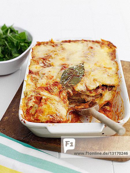 Nahaufnahme eines Lasagne-Gerichts