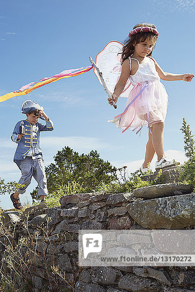Boy and girl dressed as pirate and fairy  Eggegrund  Sweden