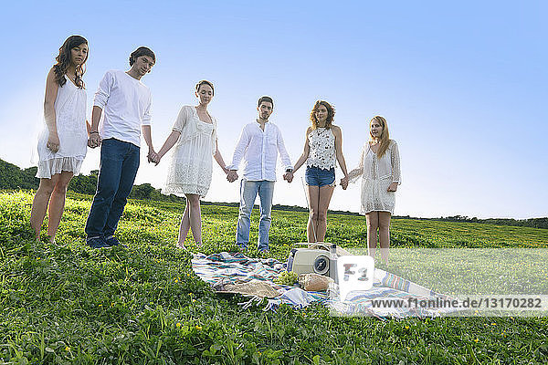 Portrait of six young adult friends holding hands in field