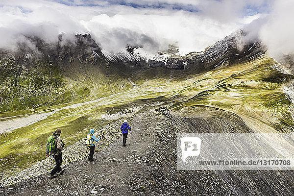 Hochwinkelaufnahme von männlichen und weiblichen Wanderern beim Wandern  Fil de Cassons  Segnesboden  Graubünden  Schweiz