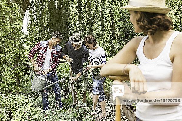 Gruppe von Freunden bei der Gartenarbeit