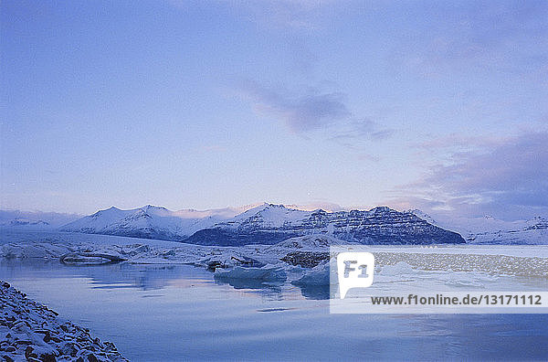 View of icebergs in coastal water  Sudhurland  Iceland