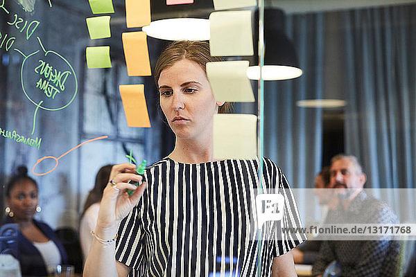 Kreative Geschäftsfrau schreibt auf Glas  während Kollegen im Hintergrund im Büro arbeiten