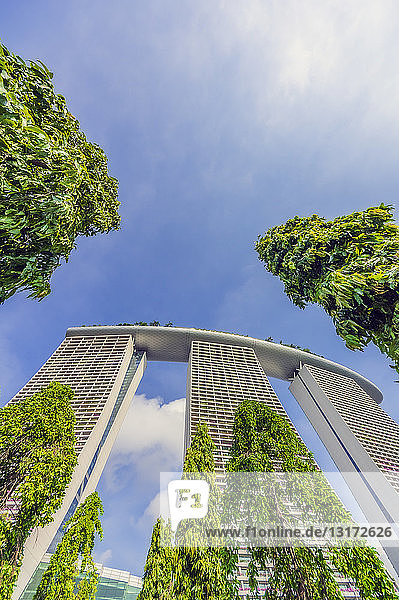 Singapore  Marina Bay Sands Hotel  low angle view