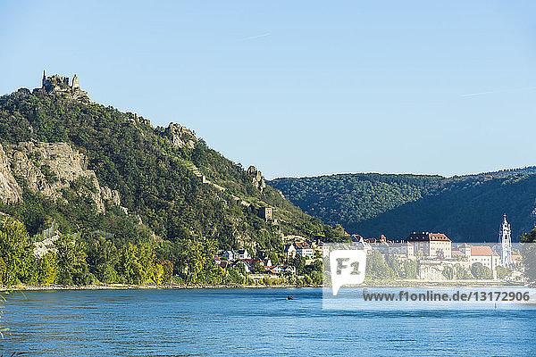 Austria  Wachau  Overlook over Duernstein on the Danube