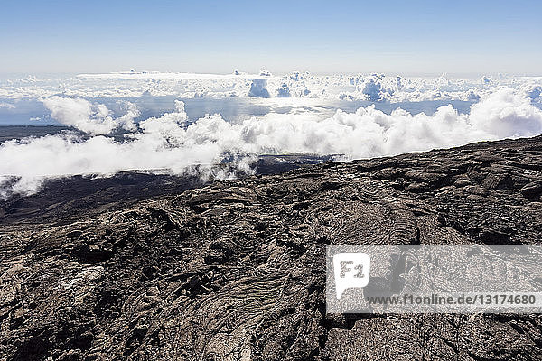 Reunion  Reunion National Park  Shield Volcano Piton de la Fournaise  Caldera Enclos Fouque and Rempart  lava field  AA lava over pahoehoe lava