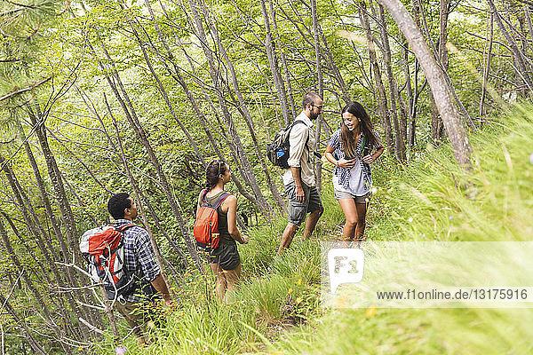 Italien  Massa  Gruppe junger Leute beim Wandern in den Alpi Apuane