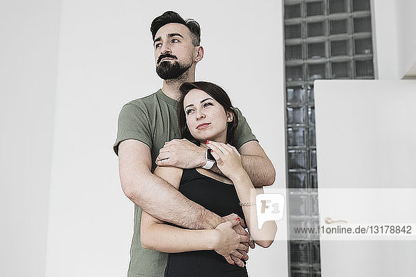 Sensual couple embracing