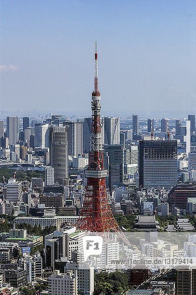 Japan  Tokyo  City view with Tokyo Tower